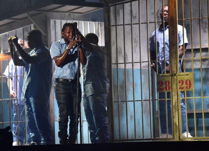 During his 2016 Grammy performance, Kendrick Lamar probed the issue of enslavement, whether it be mental or physical.