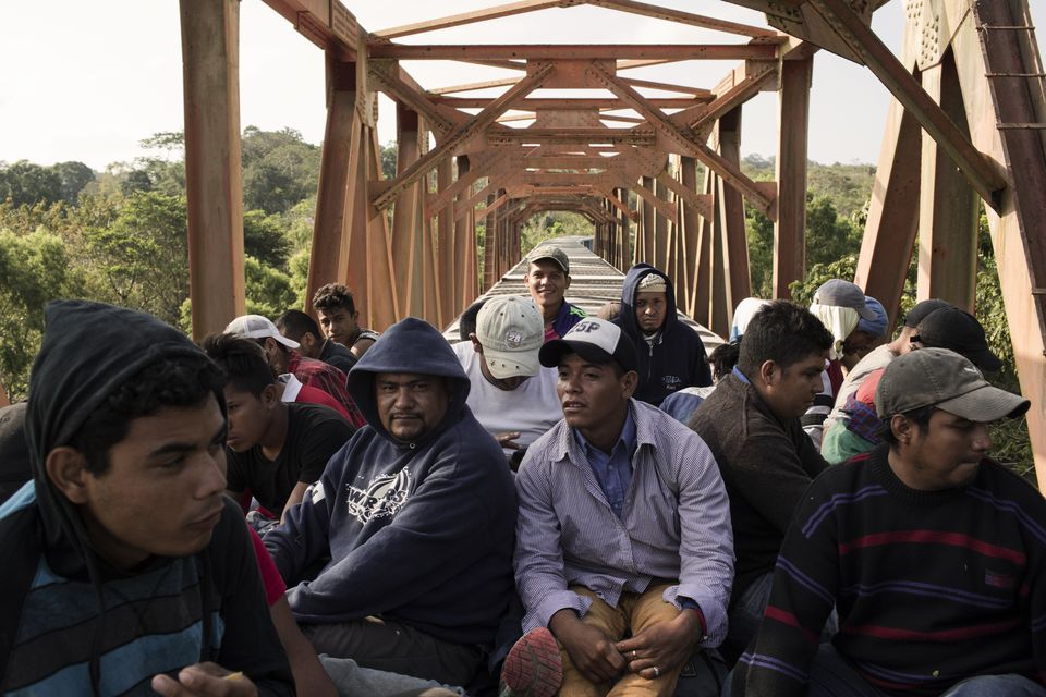 Central American migrants ride the freight train called