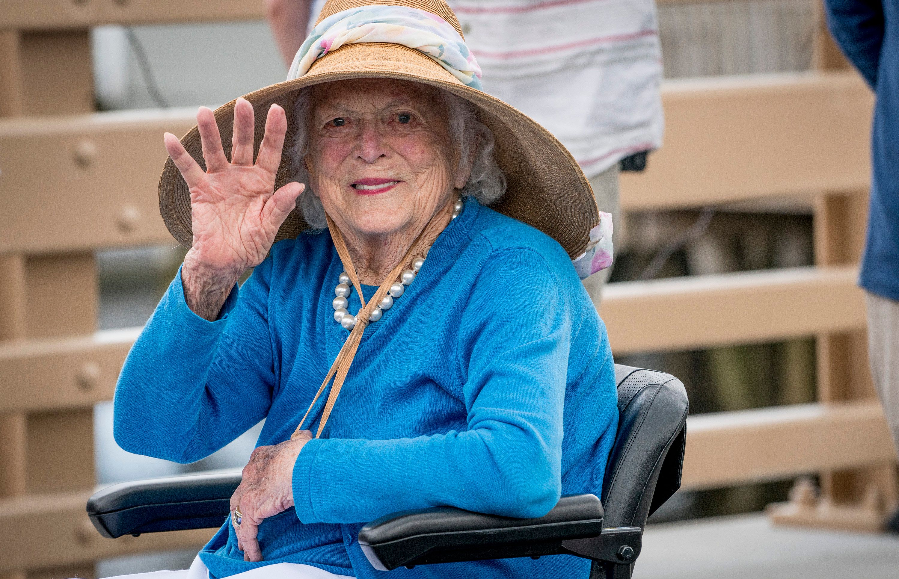 KENNEBUNK, ME - MAY 19: Former first lady Barbara Bush waves to the crowd as she arrives at the dedication of the Mathew J. Lanigan bridge Friday, May 19, 2017. The bridge was first built in 1933 and connects Kennebunk and Kennebunkport. The new bridge cost $2.7 million and was completed in a very short time frame. (Photo by Gabe Souza/Portland Press Herald via Getty Images)