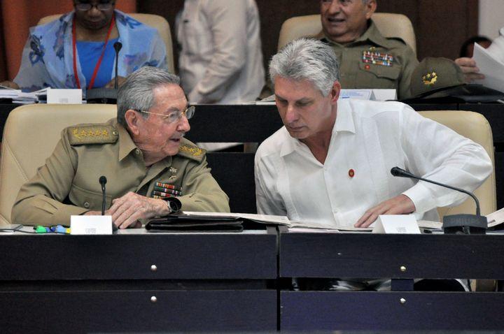 Cuban President Raúl Castro, left, and Vice President Miguel Diaz-Canel on July 14, 2017.