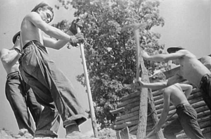 Men working for the Civil Conservation Corp, set up as part of of FDR's New Deal legislation from 1933 to give young unemploy