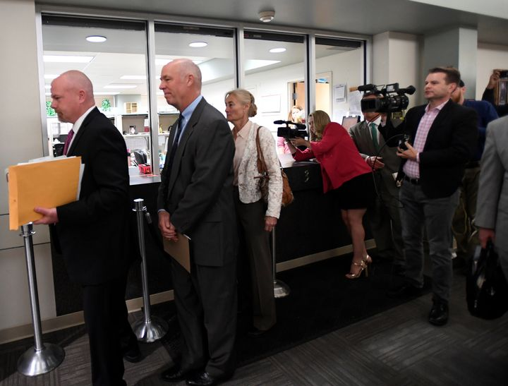 Rep. Greg Gianforte (R-Mont.) appears in court to face a charge of misdemeanor assault after he was accused of attacking a re