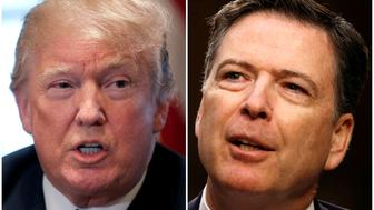A combination of file photos show U.S. President Donald Trump in the White House in Washington, DC, U.S. April 9, 2018 and former FBI Director James Comey on Capitol Hill in Washington, U.S., June 8, 2017.   REUTERS/Carlos Barria, Jonathan Ernst/File Photos