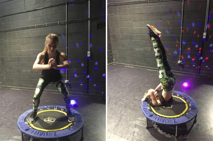 Shoulder stand + trampoline = wobbly.