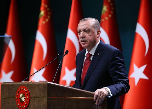 Le président turc Recep Tayyip Erdogan durant une conférence de presse à Ankara,...