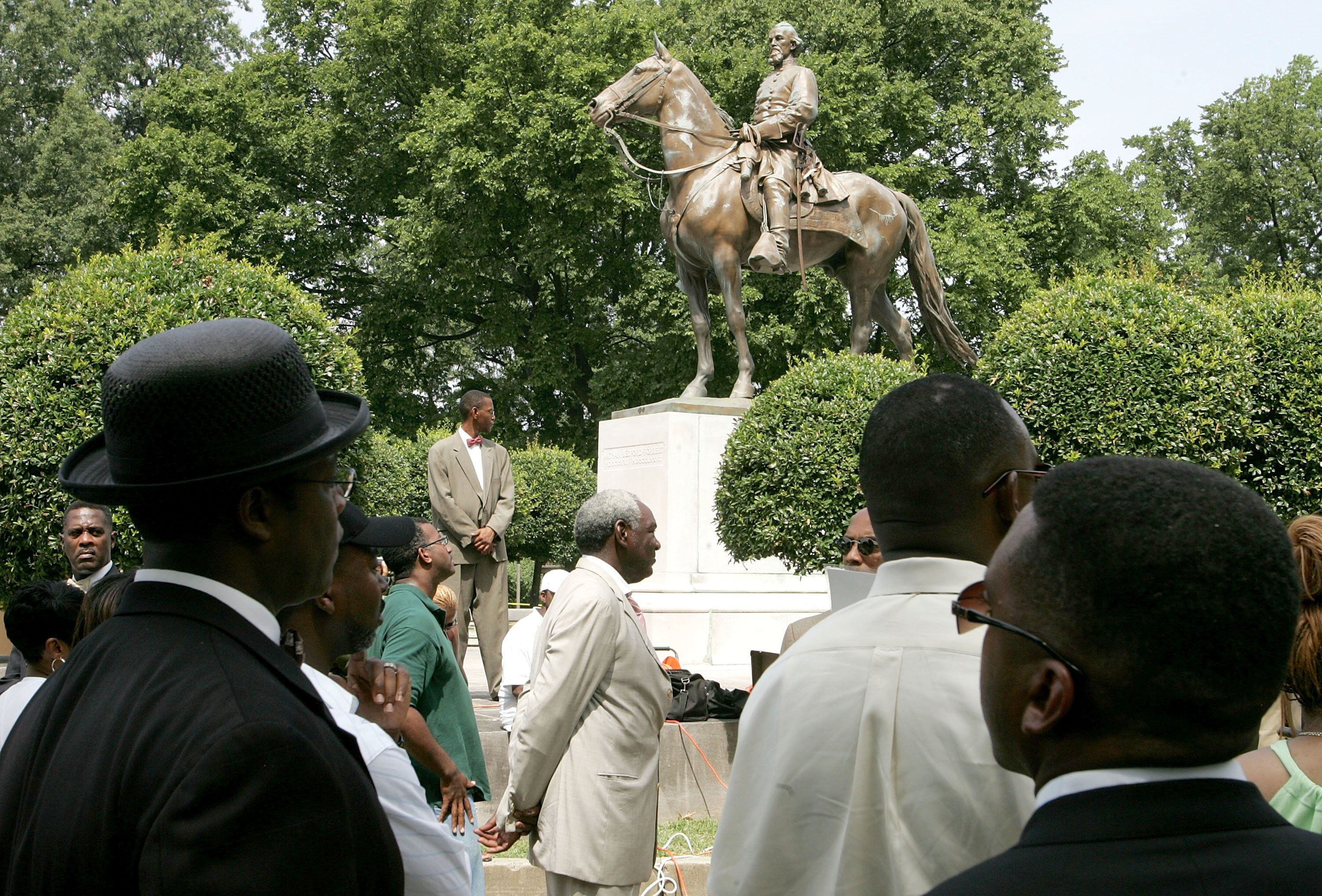 Back in 2005, protesters rallied against the name of Memphis' Nathan Bedford Forrest Park in front of a statue of t