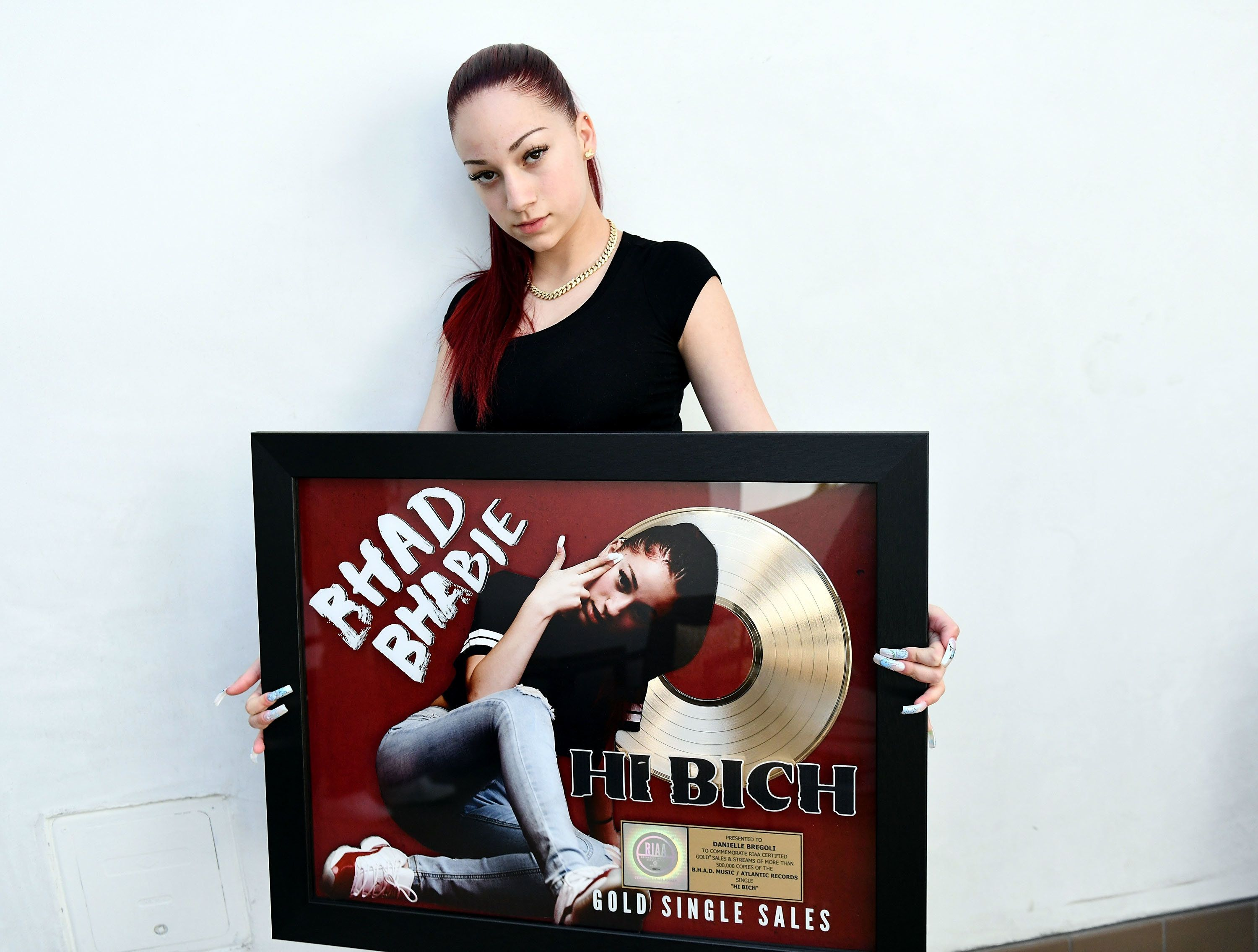 LOS ANGELES, CA - MARCH 26:  Musician Bhad Bhabie, real name Danielle Bregoli, attends her Gold record presentation for 'Hi Bich' at Los Angeles Recording Studio on March 26, 2018 in Los Angeles, California.  (Photo by Scott Dudelson/Getty Images)