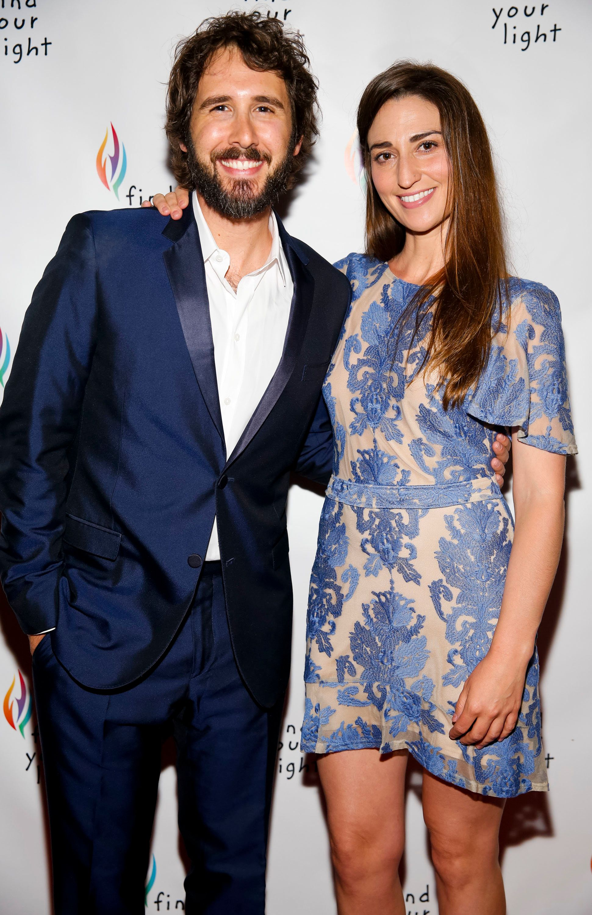 NEW YORK, NY - JUNE 06: Singer Josh Groban and singer/songwriter Sara Bareilles are seen during the Find Your Light Foundation Gala hosted by Josh Groban at City Winery on June 6, 2016 in New York City.  (Photo by Brian Ach/Getty Images for Find Your Light Foundation)