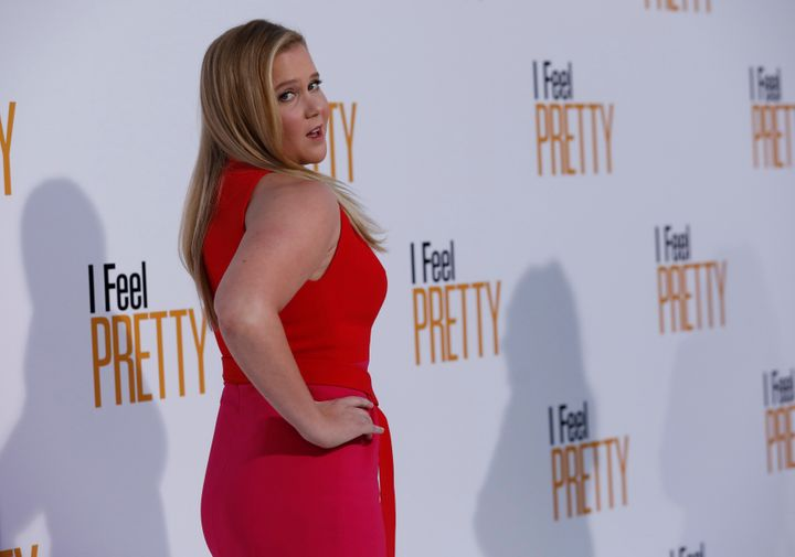 "Amy Schumer poses at the premiere of ""I Feel Pretty"" in Los Angeles on April 17."