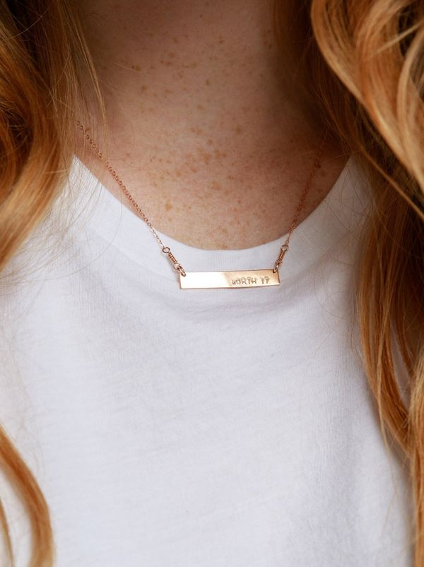 "Remind her of her worth every day with this 'Worth It' necklace from <a href=""https://www.livefashionable.com/collections/nec"