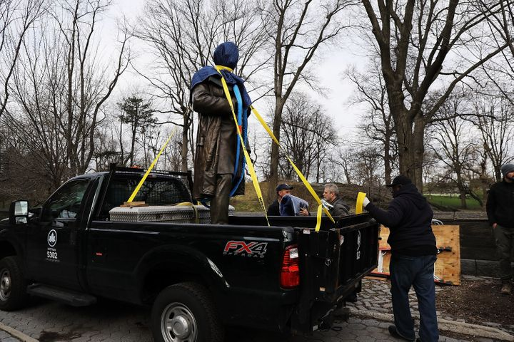 The statute of 19th century surgeon J. Marion Sims is carted away from New York's Central Park after decades of criticism ove
