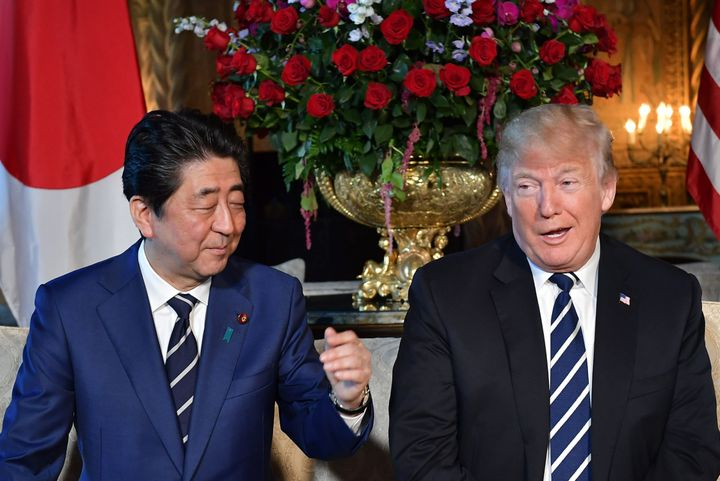 President Donald Trump and Japanese Prime Minister Shinzo Abe speak to media during a bilateral meeting at Trump's Mar-a-Lago