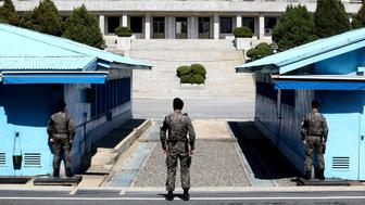 PANMUNJOM, SOUTH KOREA - APRIL 11:  South Korean soldiers stand guard at the border village of Panmunjom between South and North Korea at the Demilitarized Zone (DMZ) on April 11, 2018 in Panmunjom, South Korea. South Korean President Moon Jae-in and North Korean leader Kim Jong-un will meet for the first time on April 27, 2018 in the Peace House, a South Korean building inside Panmunjom.  (Photo by Chung Sung-Jun/Getty Images)