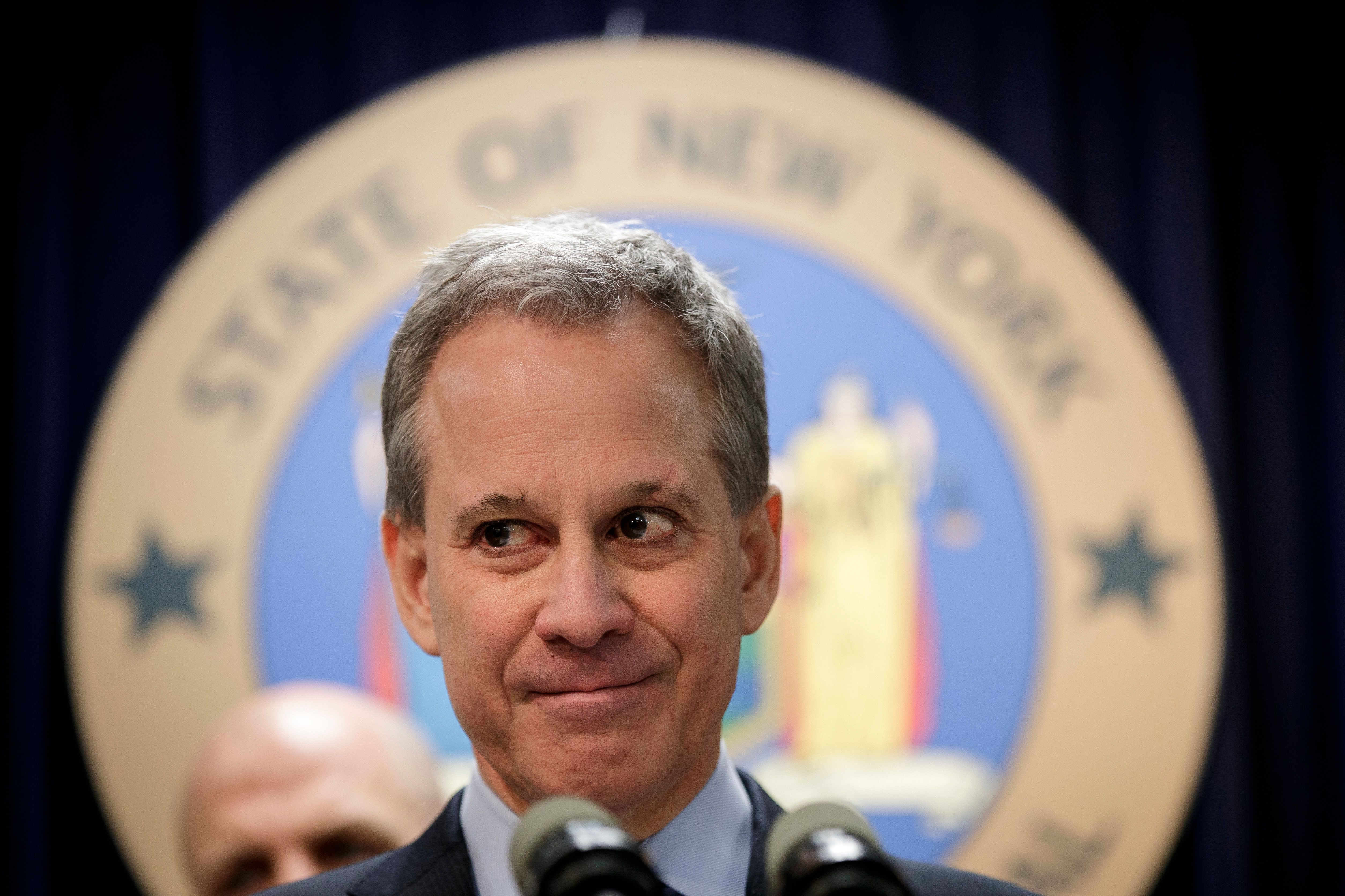 NEW YORK, NY - MARCH 15:  New York state Attorney General Eric Schneiderman takes questions during a news conference to announce the take down of a large organized crime ring, March 15, 2017 in New York City. The investigation, dubbed Operation Sticky Fingers, has resulted in charges against 12 people accused of stealing more than $12 million in high-end electronics and supplies from retail stores and reselling the merchandise on Amazon and eBay. (Photo by Drew Angerer/Getty Images)