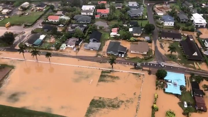 At least 350 people have been evacuated from Kauai's north shore due to heavy rain, flooding and landslides.