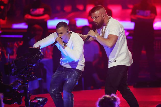 Hip-hop artists Farid Bang and Kollegah perform during the Echo Awards on April 12, 2018. Some of the...