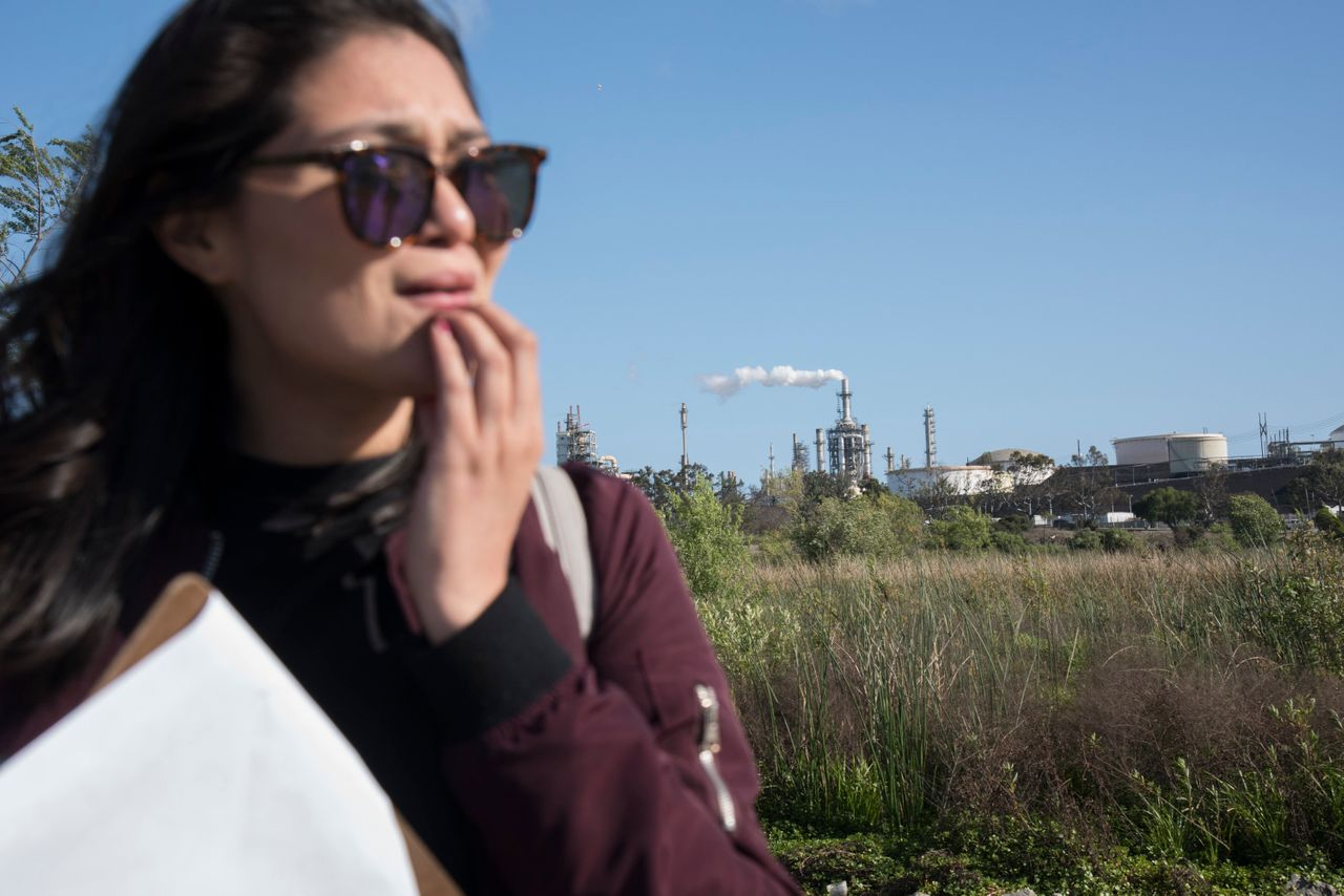 California resident and community environmental activist and organizer Ashley Hernandez leads a Water Resiliency Day field Trip at Machado Lake in the Ken Malloy Harbor Regional Park.