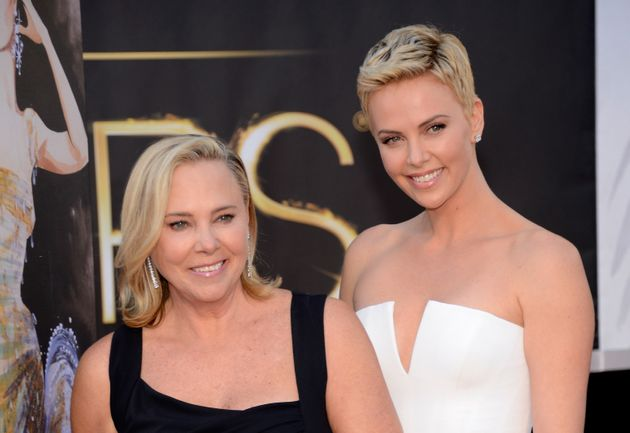 Charlize Theron and her mother, Gerda Maritz, at the Oscars on Feb. 24,