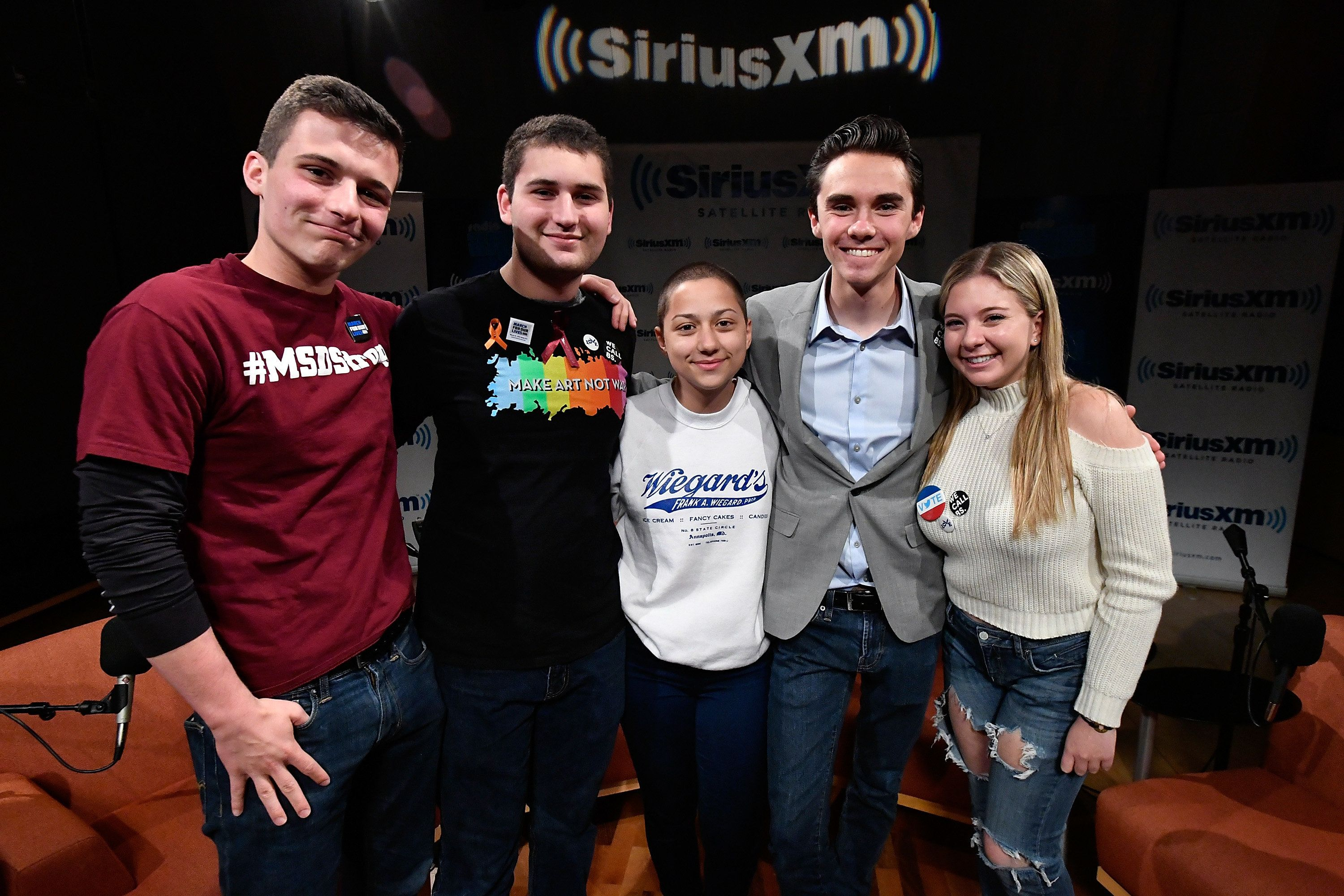 WASHINGTON, DC - MARCH 23:  Dan Rather hosts a SiriusXM Roundtable Special Event with Parkland, Florida, Marjory Stoneman Douglas High School Students and activists (L-R) Cameron Kasky, Alex Wind, Emma Gonzalez, David Hogg, and Jaclyn Corin at SiriusXM Studio on March 23, 2018 in Washington, DC.  (Photo by Larry French/Getty Images for SiriusXM)