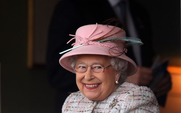 Queen Elizabeth II attends the Dubai Duty Free Spring Trials and Beer Festival at Newbury Racecourse...