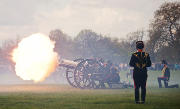 Gun teams from the Kings Troop of the Royal Artillery fire a gun salute in London's Hyde Park in