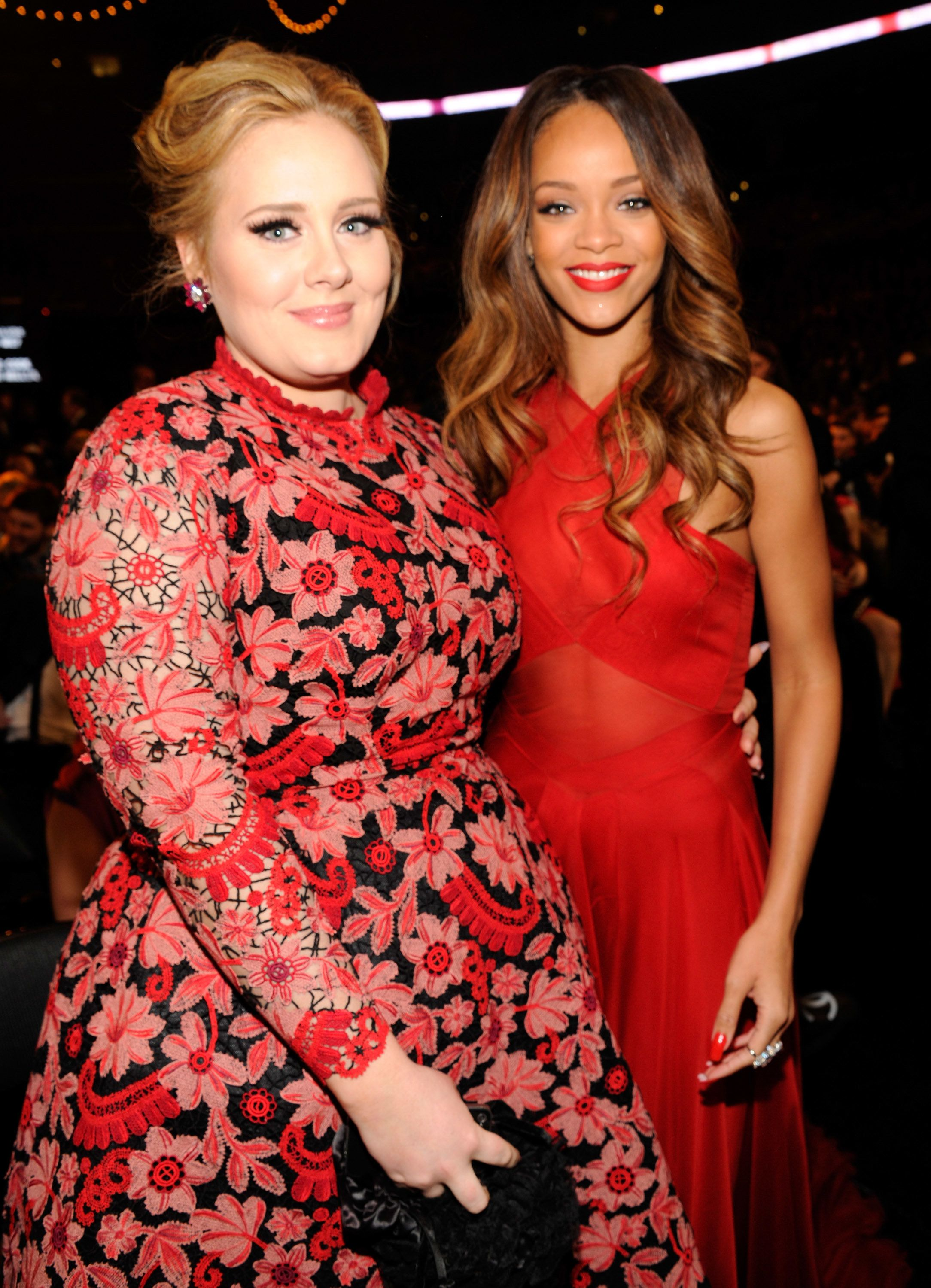 LOS ANGELES, CA - FEBRUARY 10:  Adele and Rihanna attend the 55th Annual GRAMMY Awards at STAPLES Center on February 10, 2013 in Los Angeles, California.  (Photo by Kevin Mazur/WireImage)