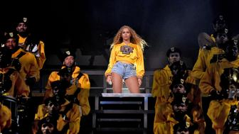 INDIO, CA - APRIL 14:  Beyonce Knowles performs onstage during 2018 Coachella Valley Music And Arts Festival Weekend 1 at the Empire Polo Field on April 14, 2018 in Indio, California.  (Photo by Larry Busacca/Getty Images for Coachella )