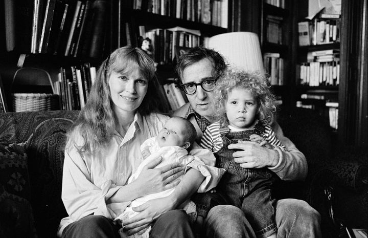 Actress Mia Farrow, director Woody Allen, and their children Dylan and Satchel, 13th January 1988.