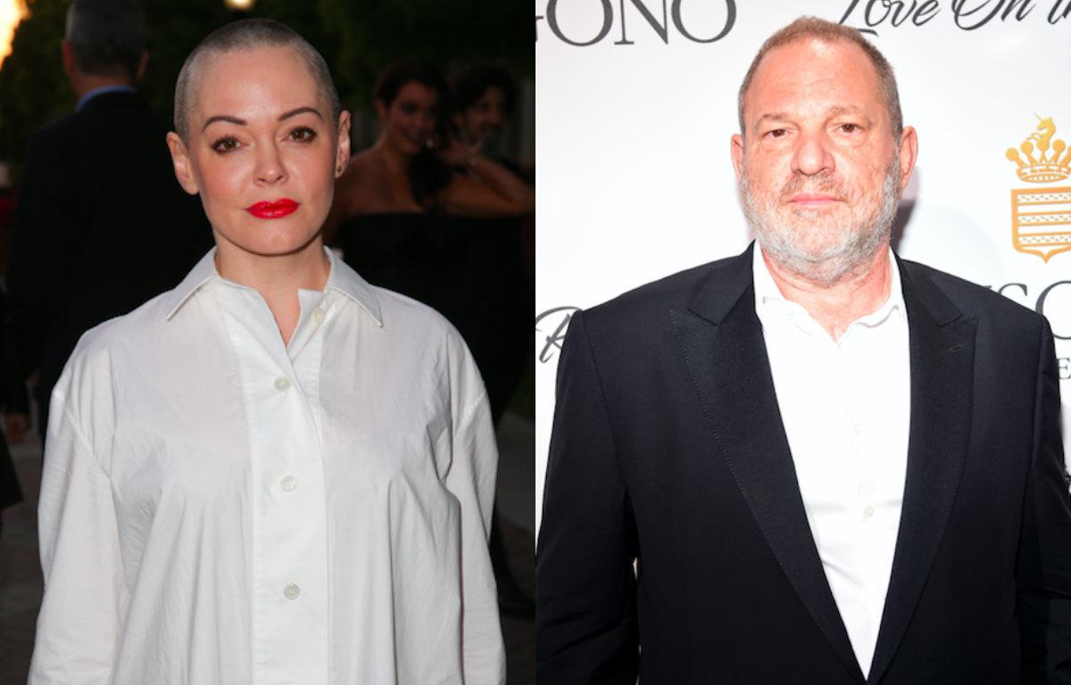 Rose McGowan (L) and Harvey Weinstein (R).