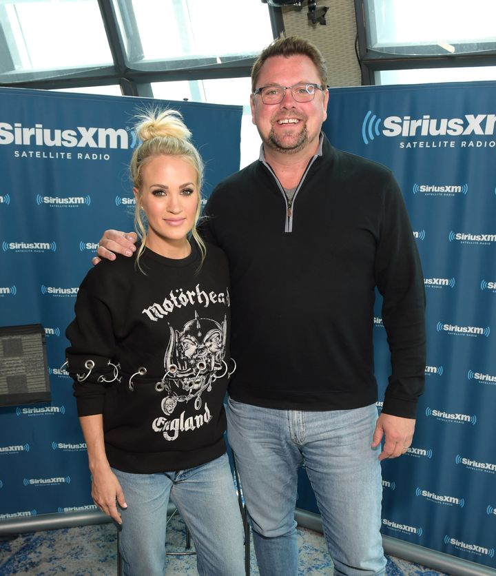 Carrie Underwood and Storme Warren talk on Thursday at the SiriusXM studios in Nashville.