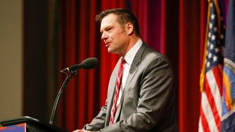 Kansas Secretary of State Kris Kobach, in a March 2016 file image, headed a voting fraud commission along with Vice President Mike Pence. The commission was shut down by President Donald Trump on Wednesday, Jan. 3, 2018. (Fernando Salazar/Wichita Eagle/TNS via Getty Images)