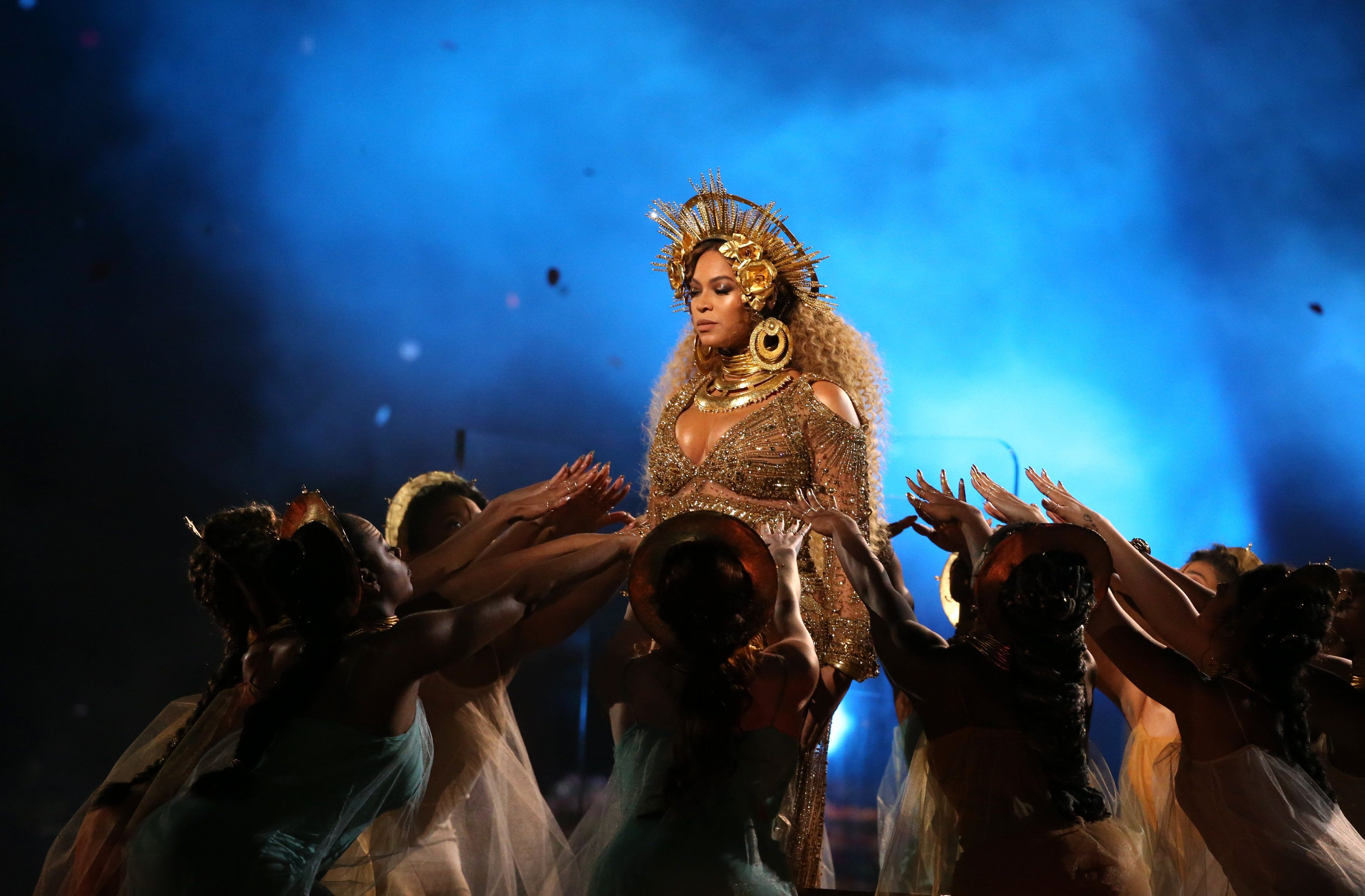 Beyoncé performance at the 59th Annual Grammy Awards last year in Los Angeles incorporated imagery from African, Hindu