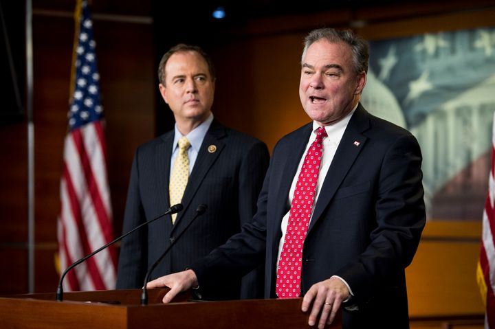 Sen. Tim Kaine (D-Va.), right, and Rep. Adam Schiff (D-Calif.) have been banging the drum for years on the need for Congress
