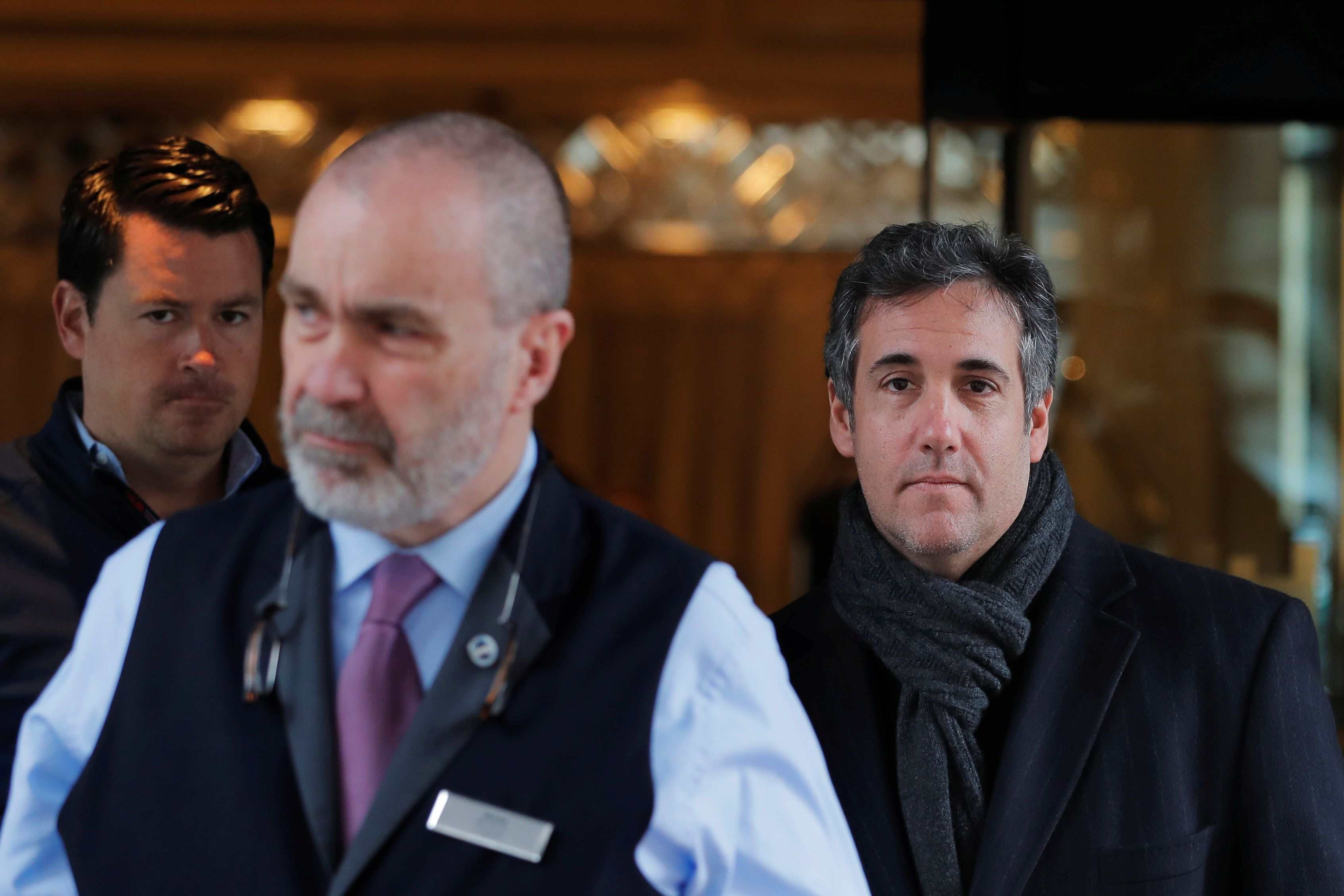 U.S. President Donald Trump's personal lawyer Michael Cohen exits a hotel in New York City, U.S., April 15, 2018.  REUTERS/Lucas Jackson