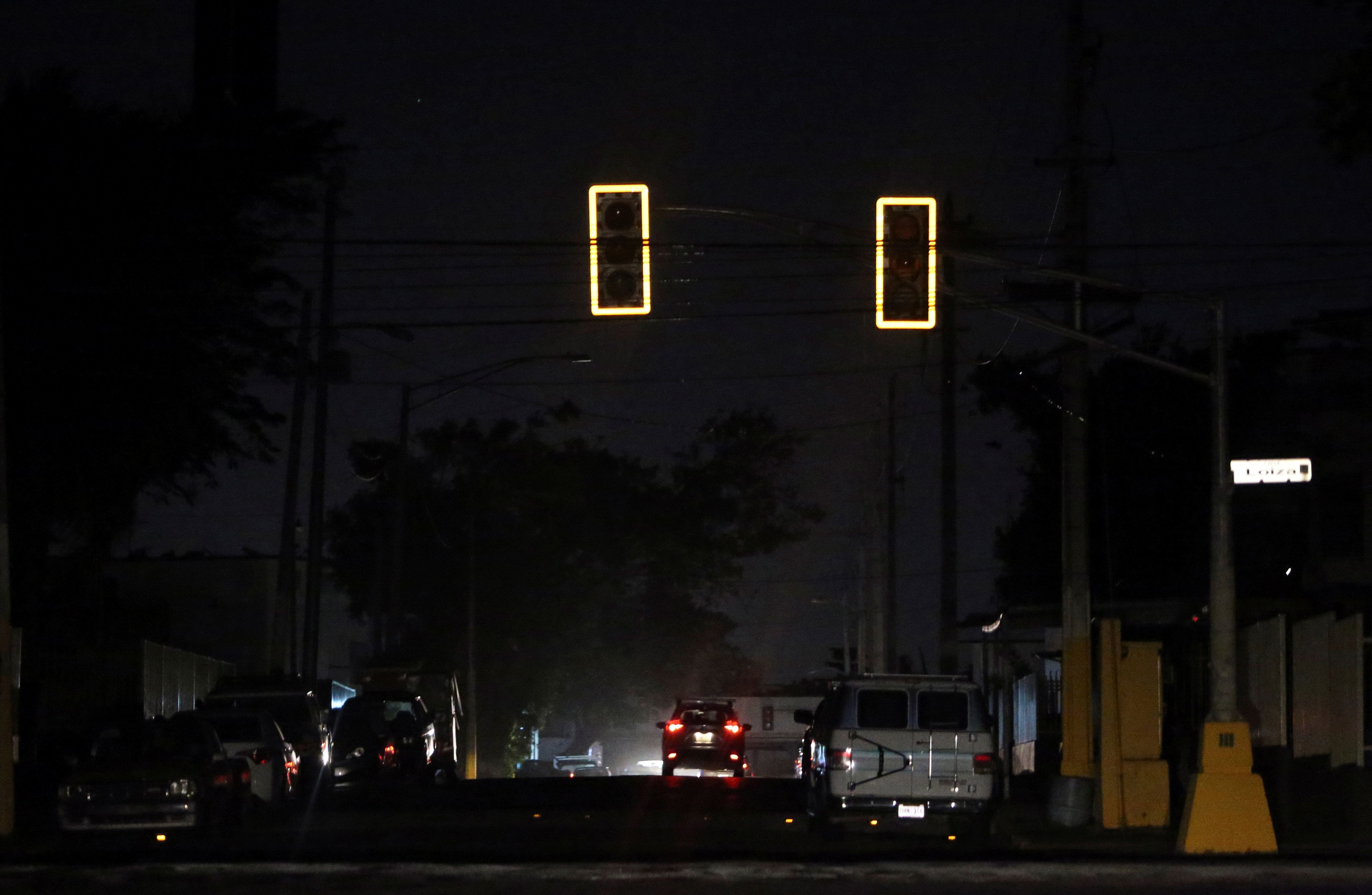 Traffic lights in San Juan are out after a major power failure across Puerto Rico on Wednesday.