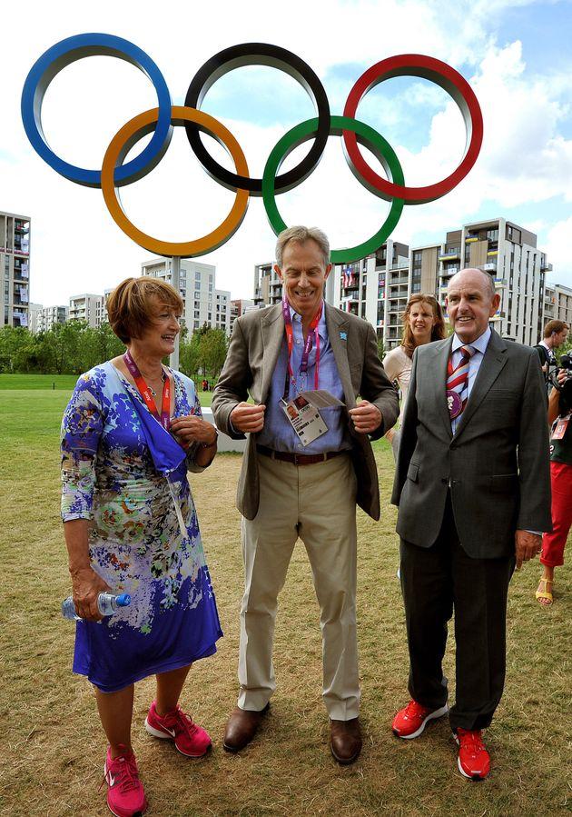 Former Prime Minister Tony Blair, shadow Olympics minister Tessa Jowell and Sir Charles Allen, the Mayor...