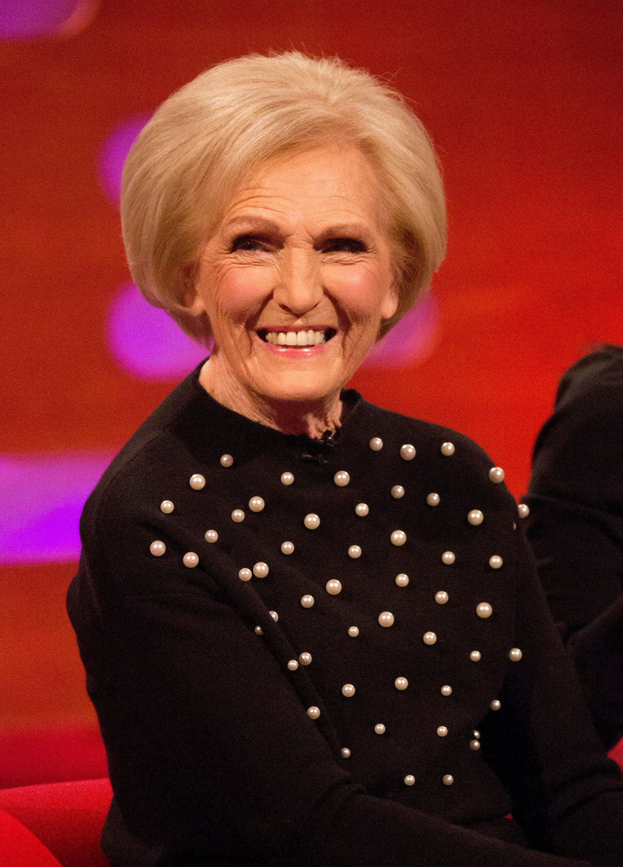 Mary Berry during the filming of the Graham Norton Show at The London Studios, south London, to be aired on BBC One on Friday evening. (Photo by Isabel Infantes/PA Images via Getty Images)
