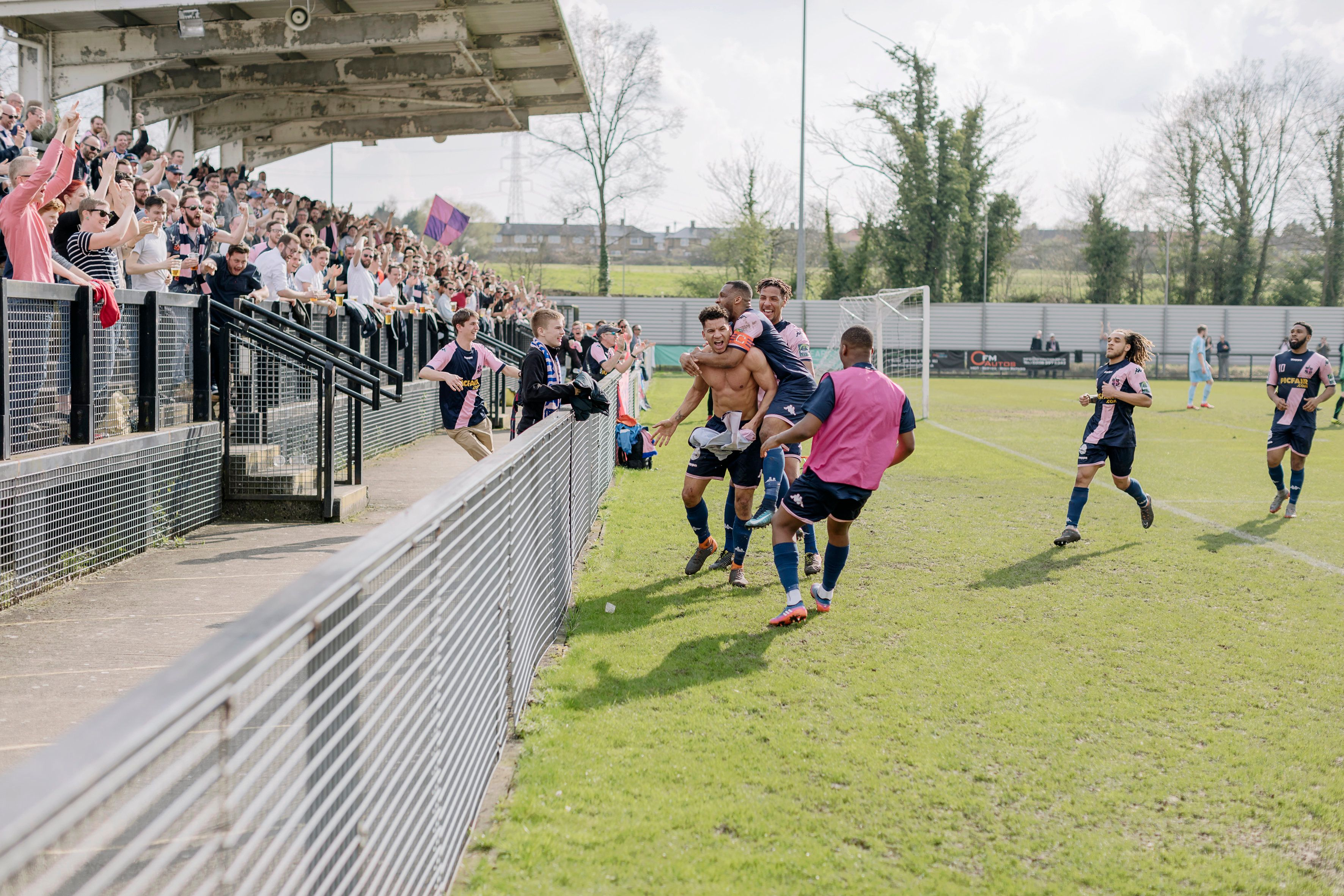 Dulwich Hamlet players celebrate a goal.