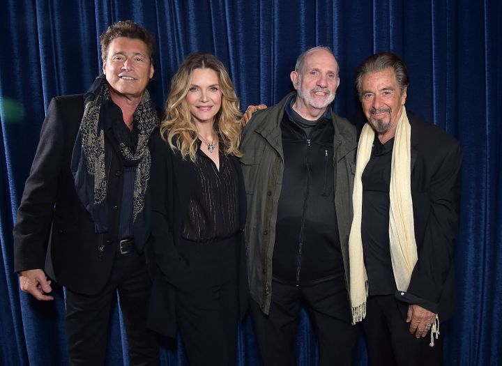 Michelle Pfeiffer, with Steven Bauer, director Brian De Palma and Al Pacino, received an uncomfortable question at a 35th ann
