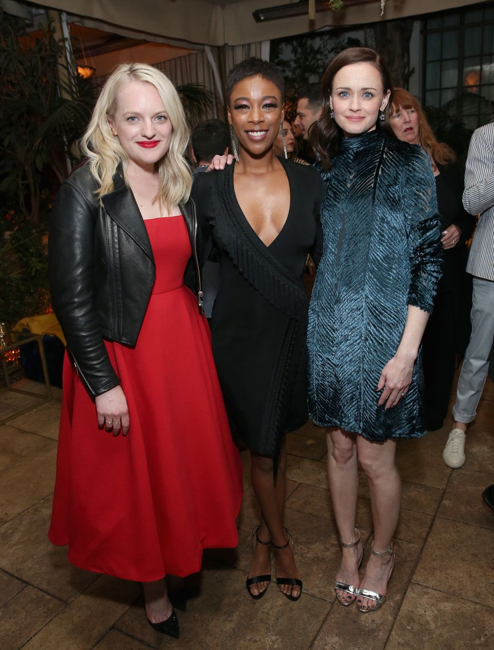 LOS ANGELES, CA - APRIL 19:  (L-R) Elisabeth Moss, Samira Wiley, and Alexis Bledel attend the premiere of Hulu's 'The Handmai