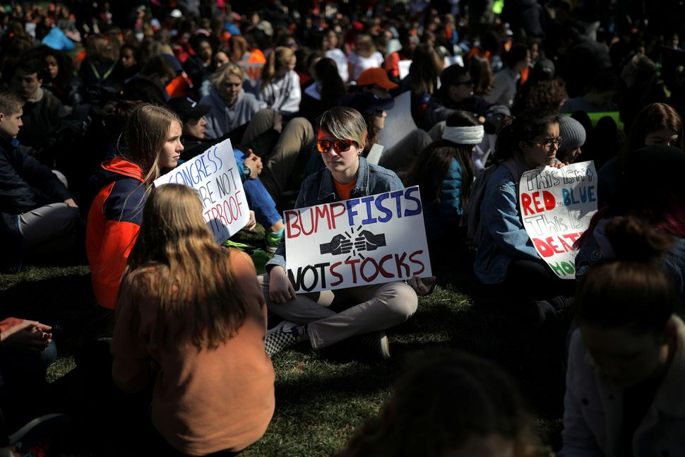 Students attend a rally at Lafayette Park.