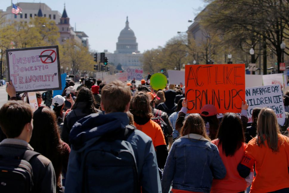 Students march to the U.S. Capitol.