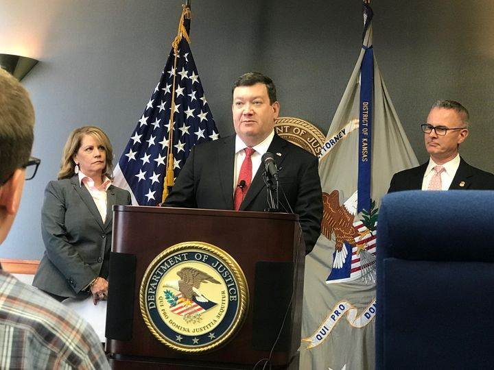 FBI Kansas City Division Acting Special Agent in Charge Shelly Doherty, U.S. Attorney Stephen McAllister and Assistant US Att