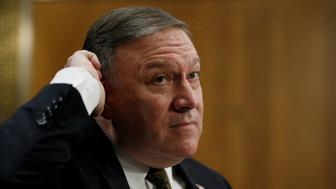 CIA Director Mike Pompeo responds to questions from Sen. Cory Booker as Pompeo testifies before a Senate Foreign Relations Committee confirmation hearing on Pompeo's nomination to be secretary of state on Capitol Hill in Washington, U.S., April 12, 2018. REUTERS/Leah Millis