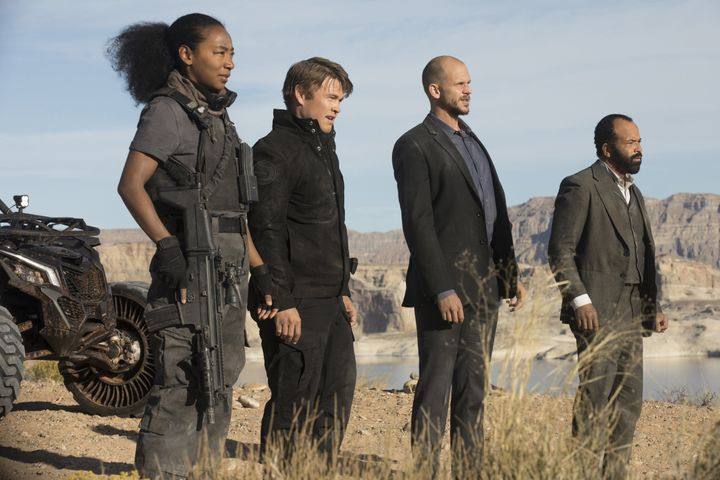 "Betty Gabriel, Luke Hemsworth, Gustaf Skarsgård and Jeffrey Wright in ""Westworld."""