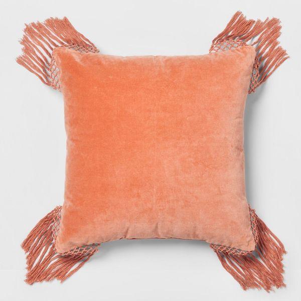 "Get it from <a href=""https://www.target.com/p/coral-velvet-fringe-euro-pillow-opalhouse-153/-/A-53090106"" target=""_blank"">Tar"