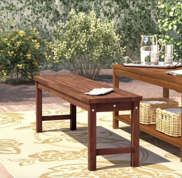 """When an outdoor chair and table set is out of the question, get a bench for small seating. Get it at <a href=""""https://www.way"""
