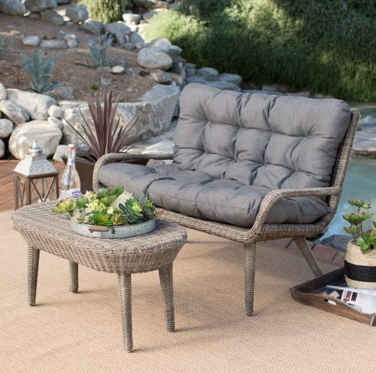 This all weather loveseat and table can comfortably fit two and will last through every season so you're not replacing furnit