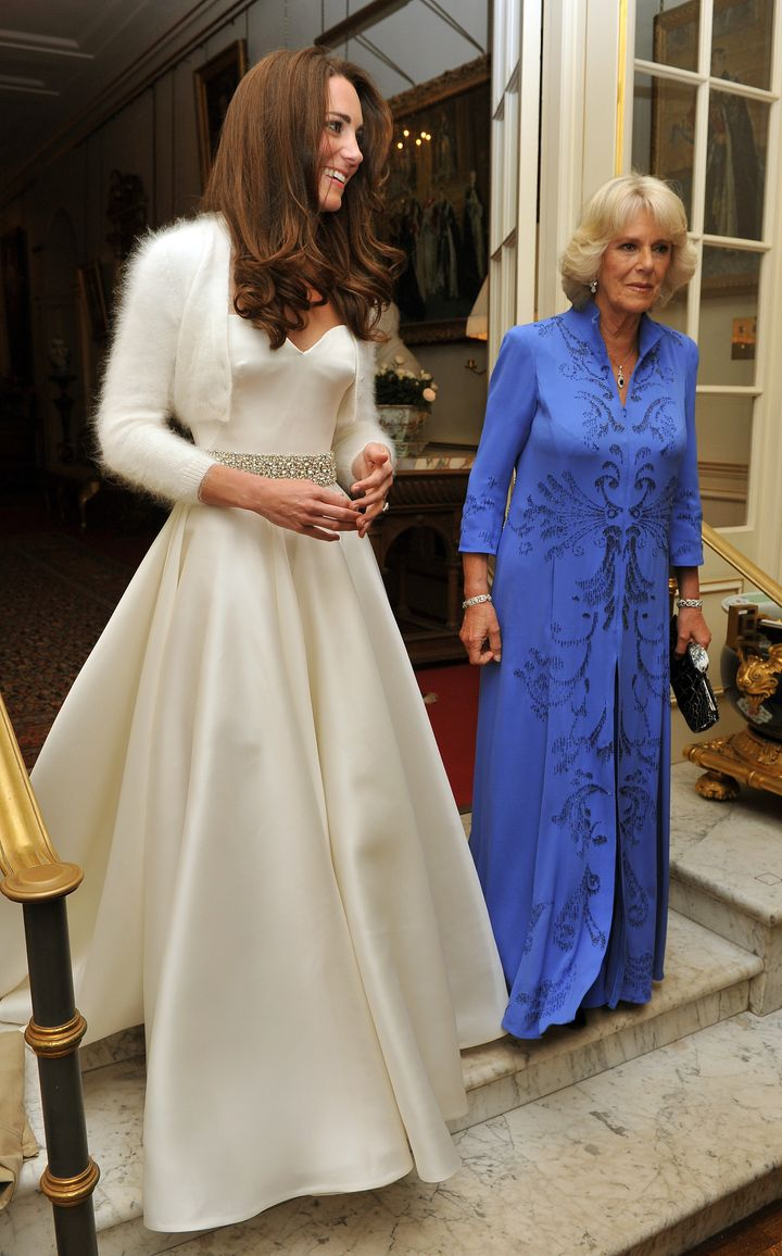 Later in the evening, the new Duchess of Cambridge changed into a less-formal Sarah Burton for Alexander McQueen gown, which she topped with a bolero sweater.
