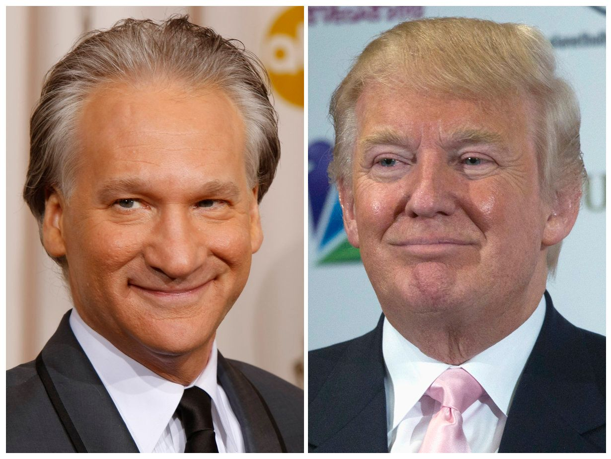 This combination photo shows Bill Maher in Hollywood, California, February 22, 2009 and Donald Trump in Las Vegas, Nevada, December 19, 2012. Trump, the famously outspoken real estate magnate has sued famously outspoken television host Bill Maher, demanding the $5 million Maher offered to give to charity if Trump could prove his father is not an orangutan. But legal experts say Trump is unlikely to get a dime from Maher, the host of the HBO series Real Time With Bill Maher, because his offer was clearly made in jest.  REUTERS/Mike Blake/Steve Marcus/Files (UNITED STATES - Tags: ENTERTAINMENT MEDIA LAW SOCIETY POLITICS BUSINESS)
